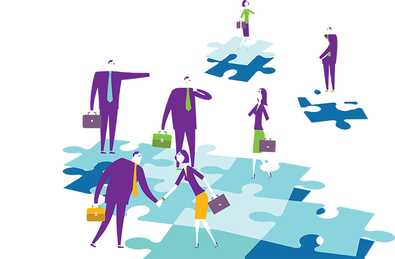 Illustration of people on jigsaw pieces