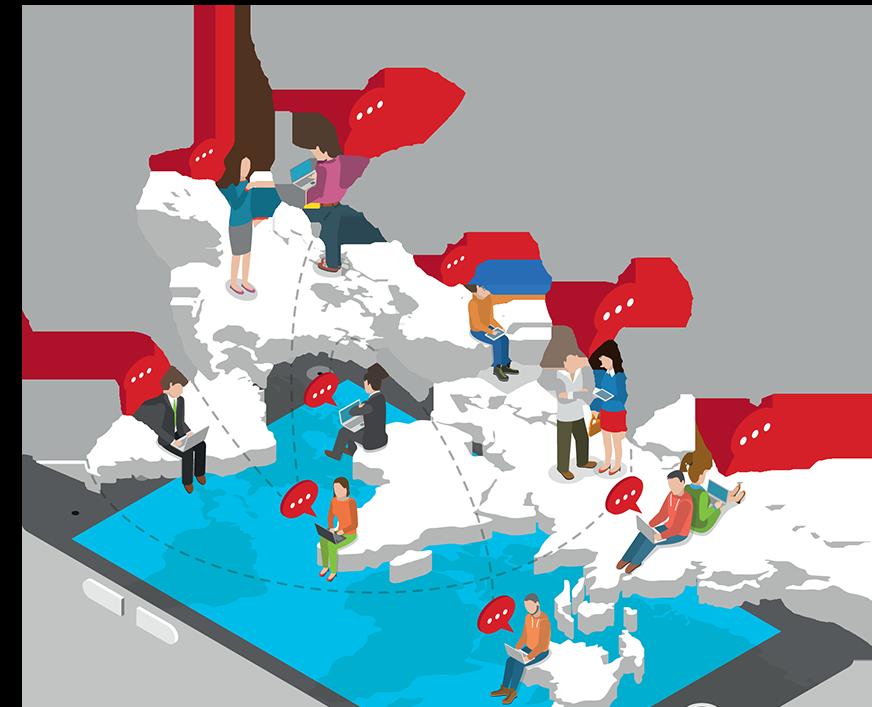 Illustration people on map communicating