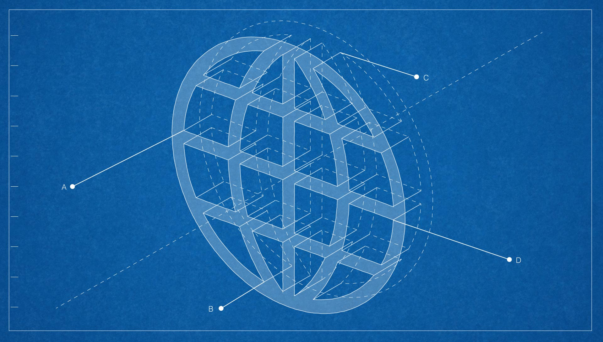 Blueprint of globe symbol