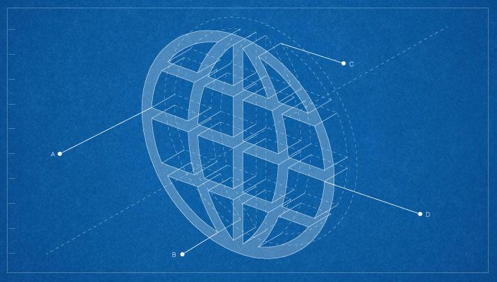 Blueprint of globe symbol