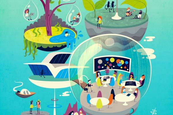 Futuristic illustration of imagined workplaces