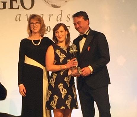 Ita Shaughnessy, Senior Compensation & Benefits Analyst at GAM, receives the GEO Award.