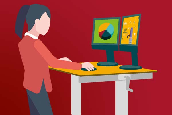 Illustration of woman working at standing desk