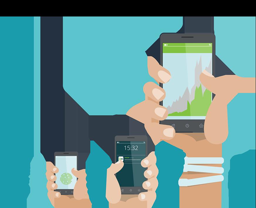 Hands holding mobiles illustration