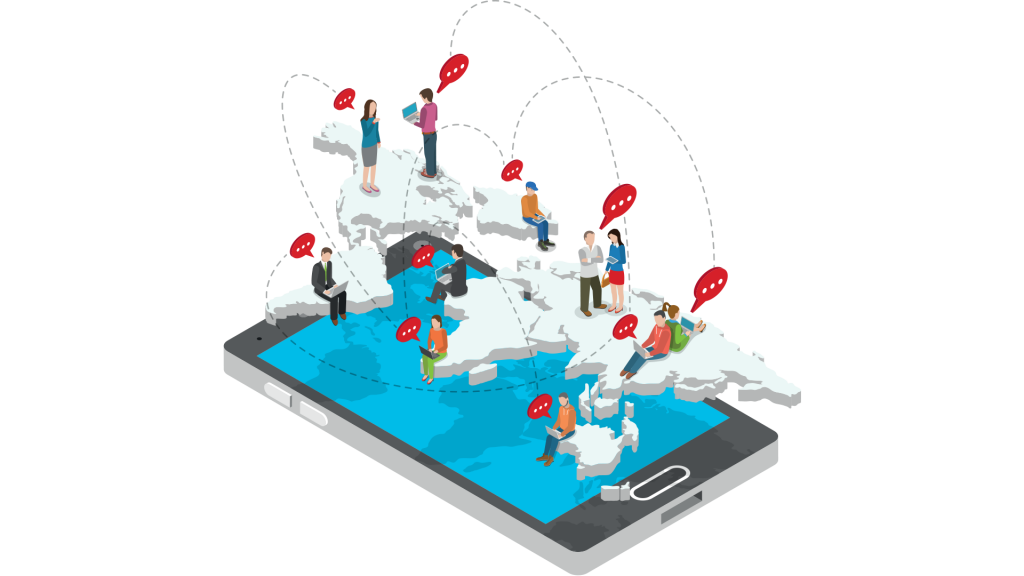 People communicating illustration