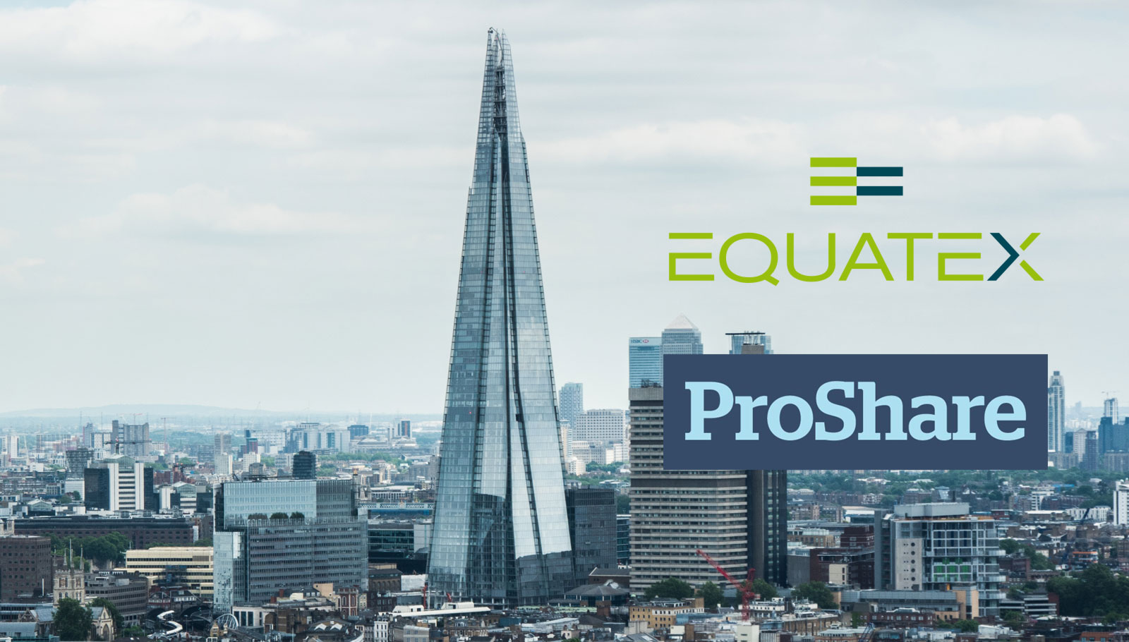 Equatex and ProShare logos on London backdrop