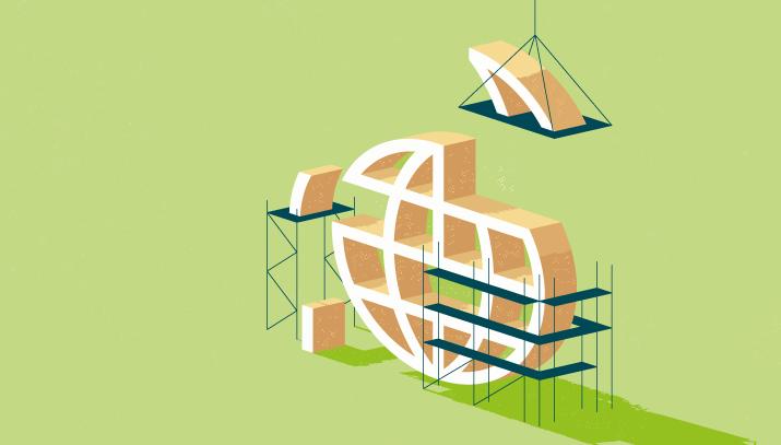 Illustration showing construction of globe symbol