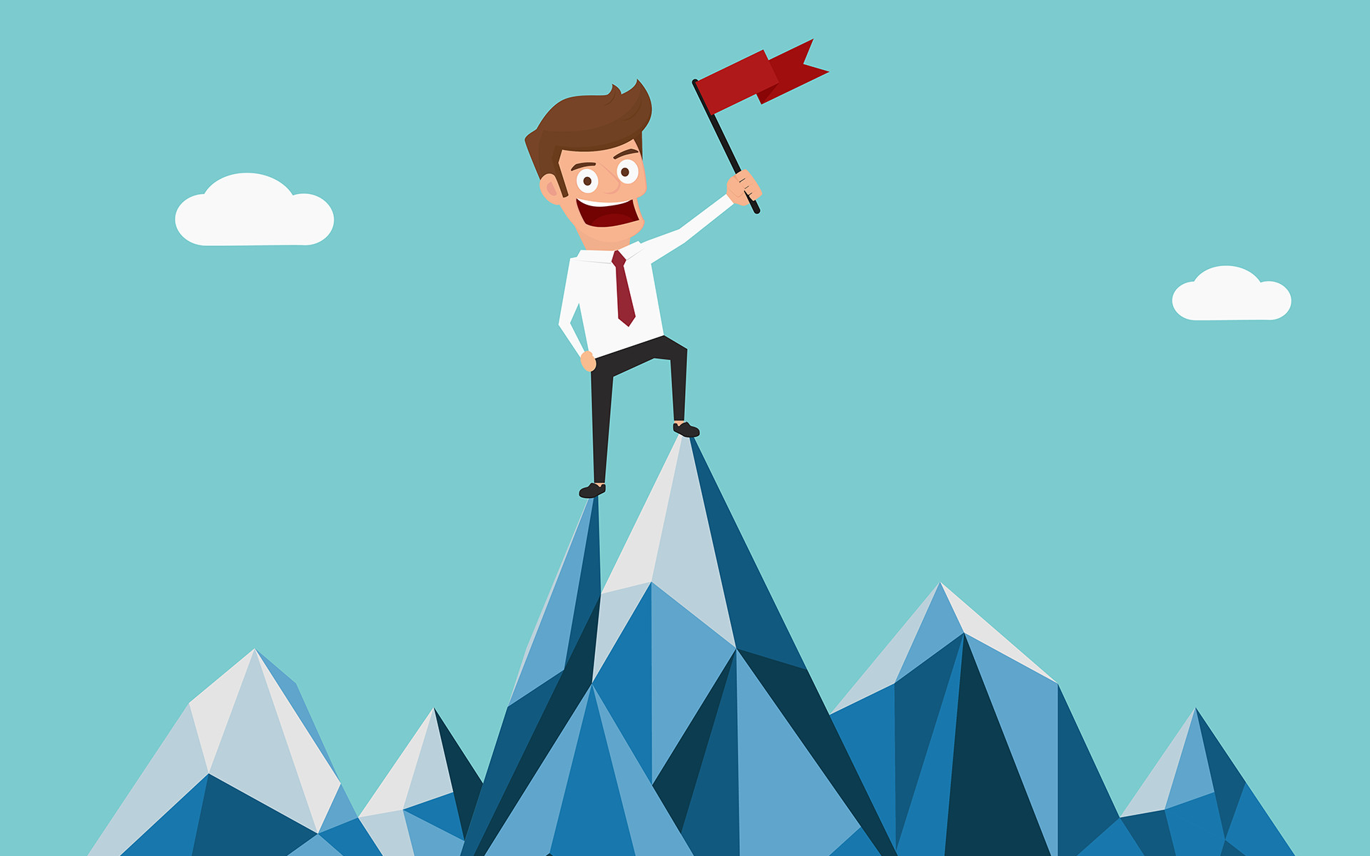 Man on mountain illustration