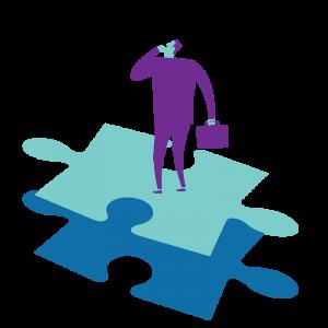 Illustration of man on puzzle