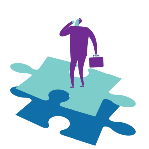 Illustration of man on puzzle