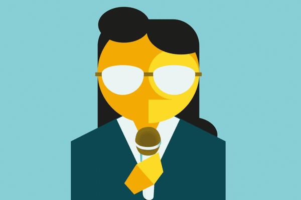 Illustration of a woman presenter