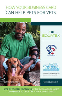 Equatex's partnership with Pets for Vets was promoted at the NASPP conference