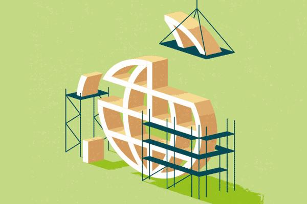 Globe construction illustration