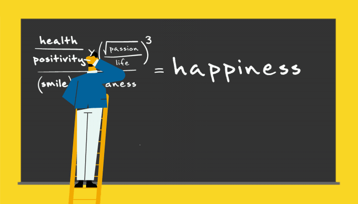 Happiness equatex on blackboard